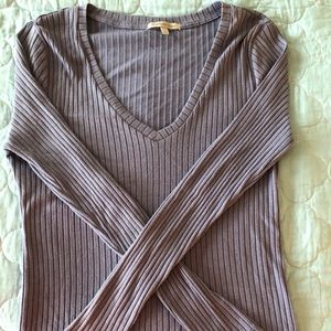 Charlotte Russe Purple-Blue Ribbed Long-Sleeve